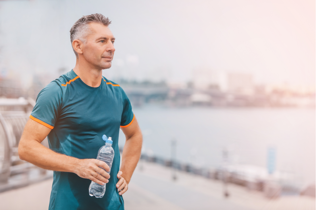 Man who just finished working out in recovery CBD image