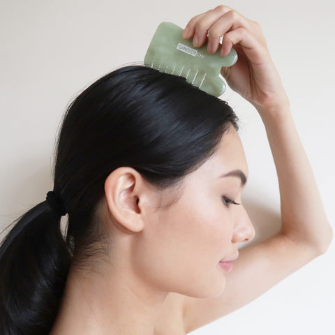 Jade GuaSha Face Comb and Scalp Massage Therapy 2-in-1