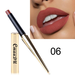 12  Shade 1PC Waterproof Lipstick Matte Pumpkin Color Finished Matte Lipstick Cosmetics Sexy Plum Cosmetics Makeup Beauty Tools
