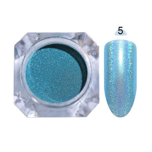 Gradient Shiny Nail Glitter Set Powder Laser Sparkly Manicur Nail Art Chrome Pigment Silver DIY Nail Art Decoration Kit