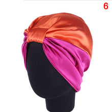 Load image into Gallery viewer, 6 Colors Silk  Salon Bonnet Women Sleep Shower Cap Elastic Hair Care Bonnet Head wrap Hat