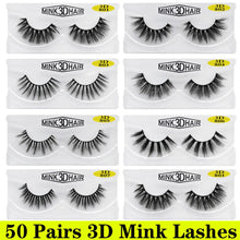 Load image into Gallery viewer, 50 Pairs 3D Mink Lashes Wholesale Natural False Eyelashes 3d Mink Eyelashes Hand Made Makeup Long Eye Lashes cilios postiço