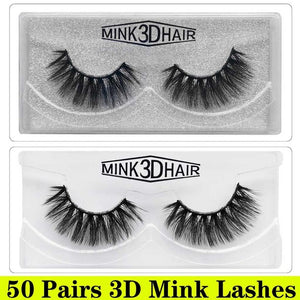 50 Pairs 3D Mink Lashes Wholesale Natural False Eyelashes 3d Mink Eyelashes Hand Made Makeup Long Eye Lashes cilios postiço