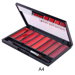 Creative Matte Lipstick Palette Easy Coloring Waterproof Sweatproof Lip Cream With Lip Brush Makeup Hot Selling