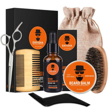 Load image into Gallery viewer, 7pcs/set Men Barba Beard Kit Styling Tool Beard Essence Oil Comb Moustache Balm Moisturizing Wax Styling Scissors Beard Care Set