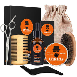 7pcs/set Men Barba Beard Kit Styling Tool Beard Essence Oil Comb Moustache Balm Moisturizing Wax Styling Scissors Beard Care Set