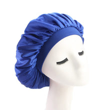 Load image into Gallery viewer, 58cm Adjust Solid Satin Bonnet Hair Styling Cap Long Hair Care Women Night Sleep Hat Silk Head Wrap Shower Cap Hair Styling Tool