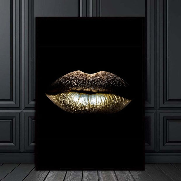 Golden Lips Wall Art Canvas - OBELKIR