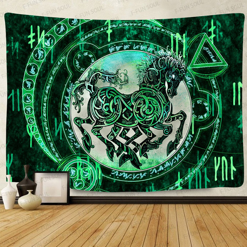 Green Horse Wall Tapestry By Obelkir Wall Tapestry Green Horse Wall Tapestry By Obelkir