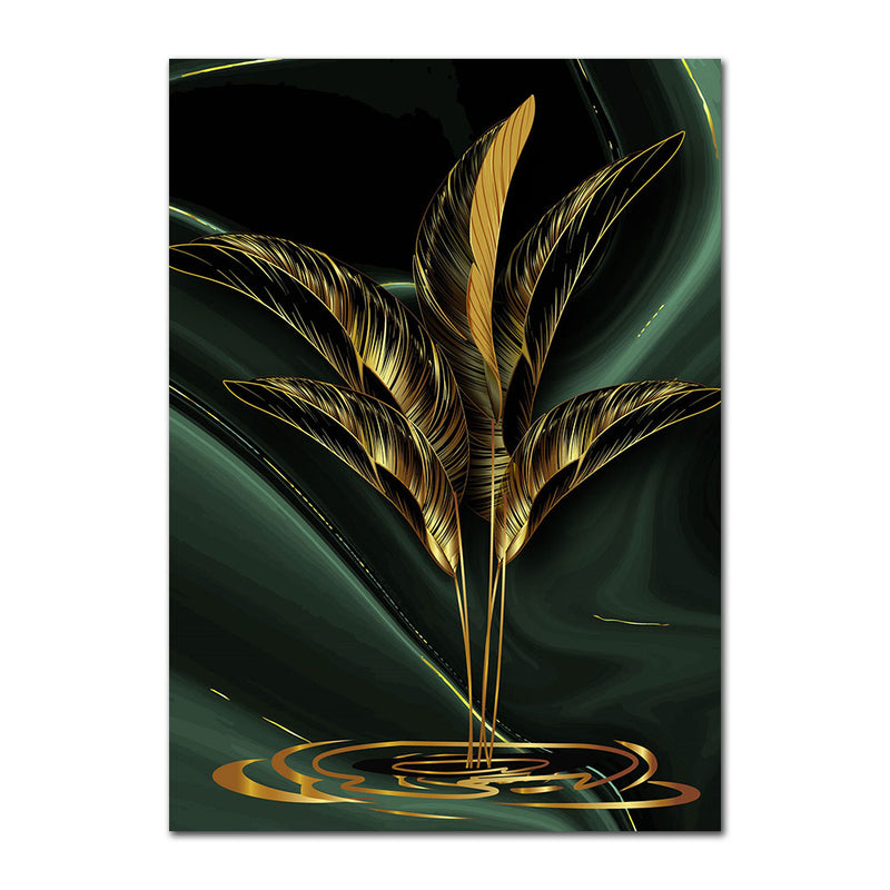 Gold Plant Leaves Wall Art Canvas 20X30 / A Art print Gold Plant Leaves Wall Art Canvas