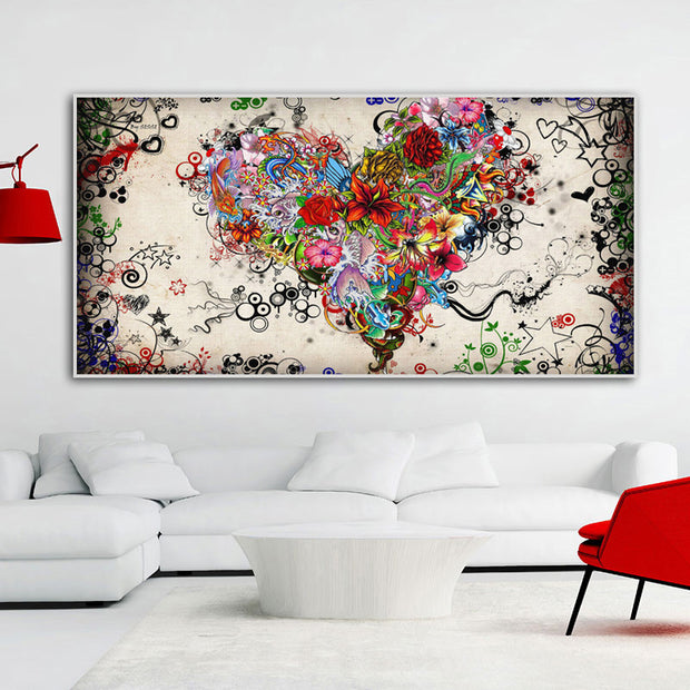 heart-shaped Floral Wall Art Canvas - OBELKIR
