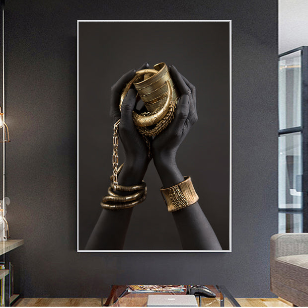 Gold Lady's Hand Wall Art Canvas - OBELKIR