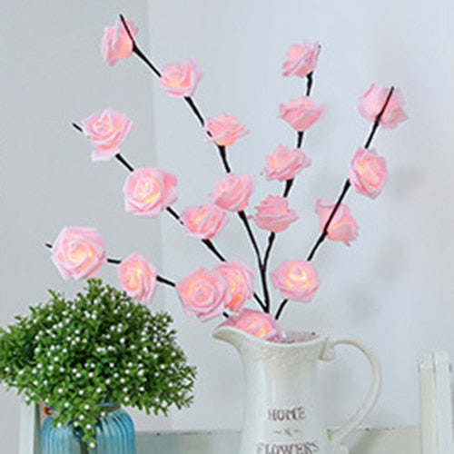 Floral LED Willow Branch Pink Rose Lights Floral LED Willow Branch