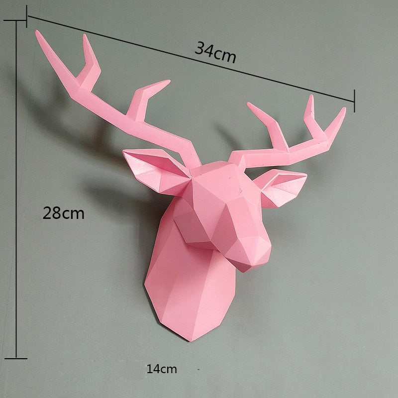 3D Deer Head Wall Art Decoration Pink Sculpture 3D Deer Head Wall Art Decoration
