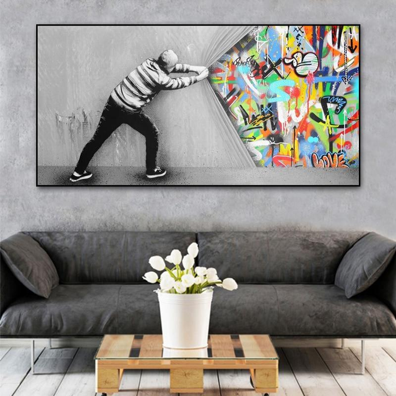 Behind the Curtain Graffiti Wall Art Canvas Art print Behind the Curtain Graffiti Wall Art Canvas