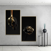 Gold Dip Skull & Rose Canvas Wall Art - OBELKIR