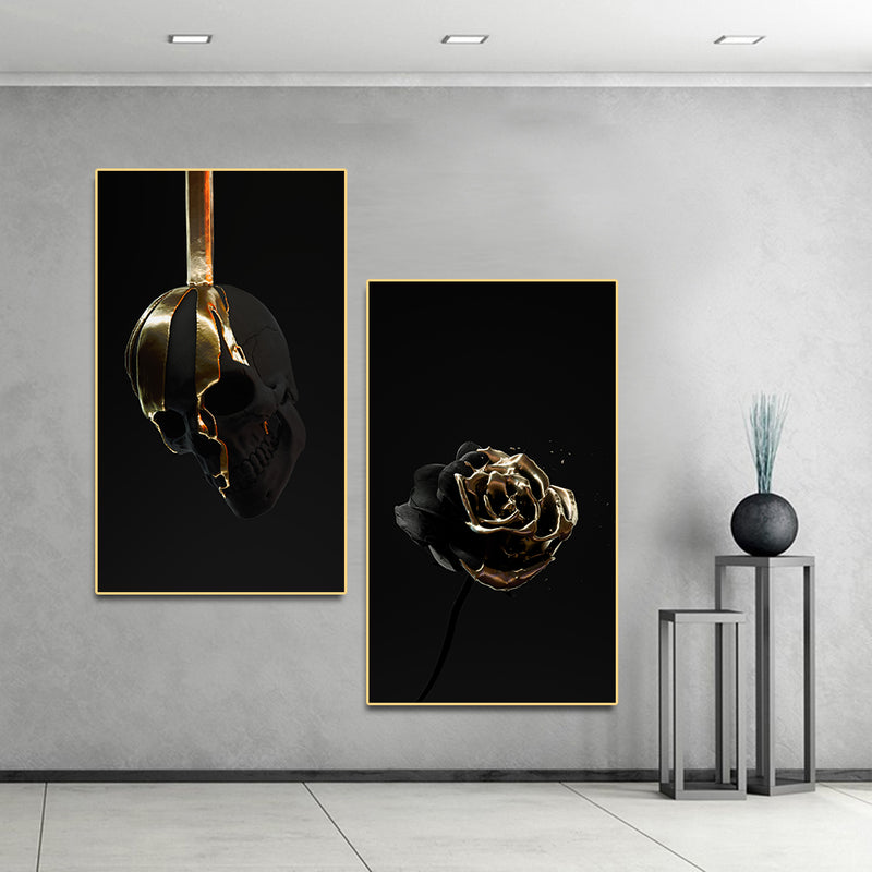 Gold Dip Skull & Rose Canvas Wall Art 15cmX25cm / Skull & Rose Art print Gold Dip Skull & Rose Canvas Wall Art