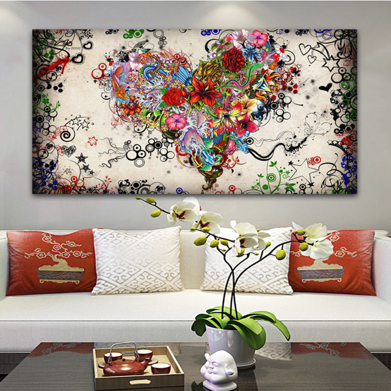 heart-shaped Floral Wall Art Canvas Art print heart-shaped Floral Wall Art Canvas