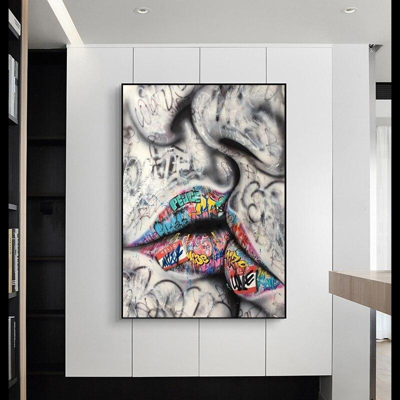 Lover Kissing Street Graffiti Wall Art Canvas Art print Lover Kissing Street Graffiti Wall Art Canvas