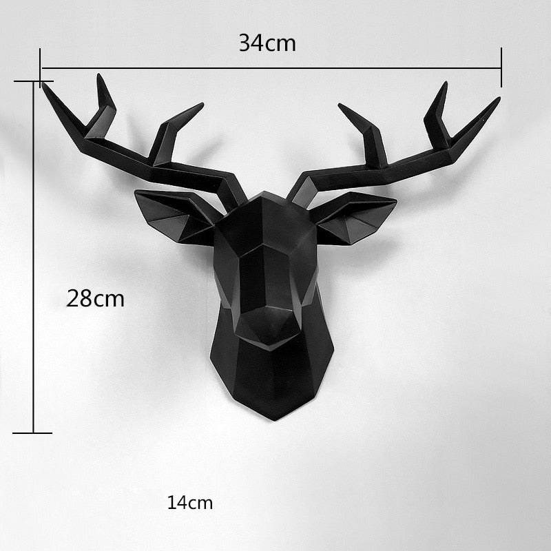 3D Deer Head Wall Art Decoration Black Sculpture 3D Deer Head Wall Art Decoration