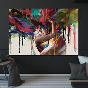 Embracing Couple Wall Art Canvas - OBELKIR