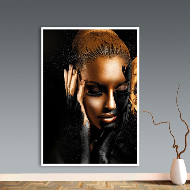 Black Gold Lady Wall Art Canvas - OBELKIR