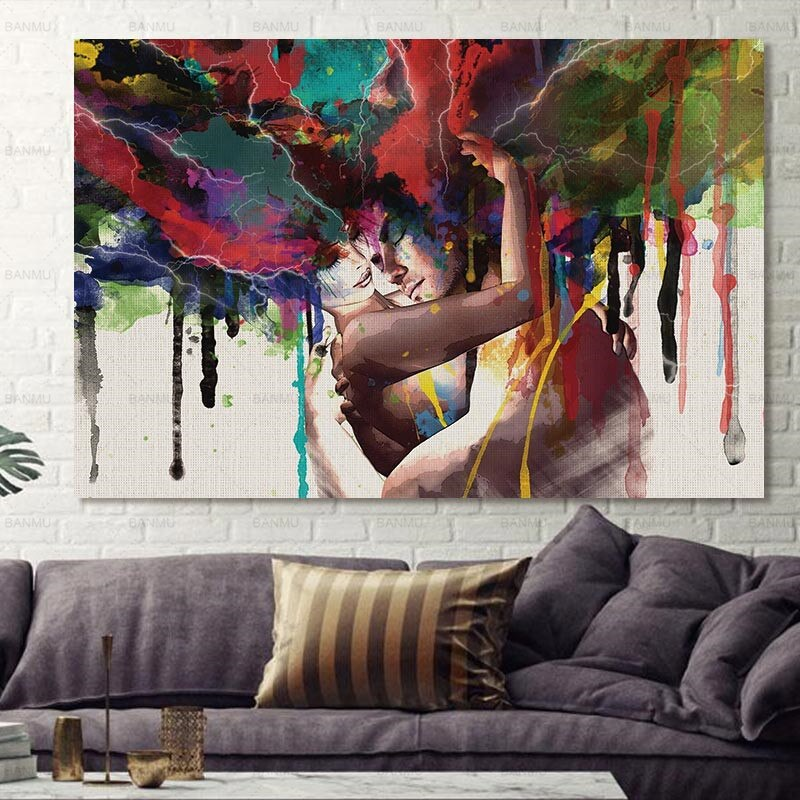 Embracing Couple Wall Art Canvas Art print Embracing Couple Wall Art Canvas