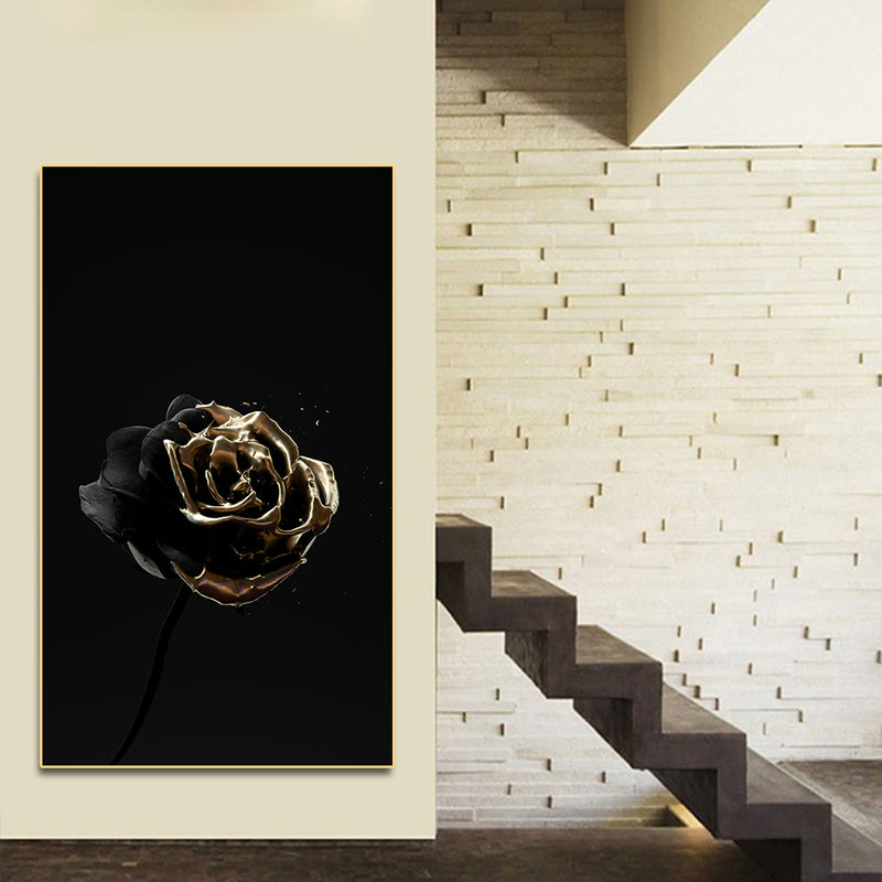 Gold Dip Skull & Rose Canvas Wall Art 20cmX35cm / Rose Art print Gold Dip Skull & Rose Canvas Wall Art