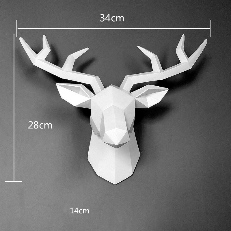 3D Deer Head Wall Art Decoration White Sculpture 3D Deer Head Wall Art Decoration