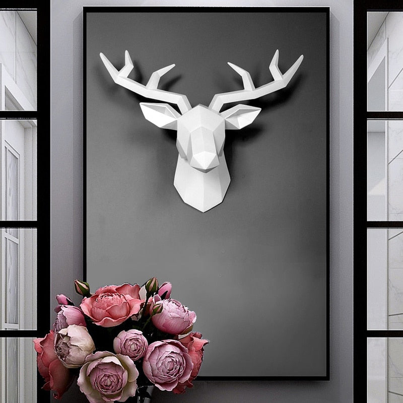 3D Deer Head Wall Art Decoration Sculpture 3D Deer Head Wall Art Decoration