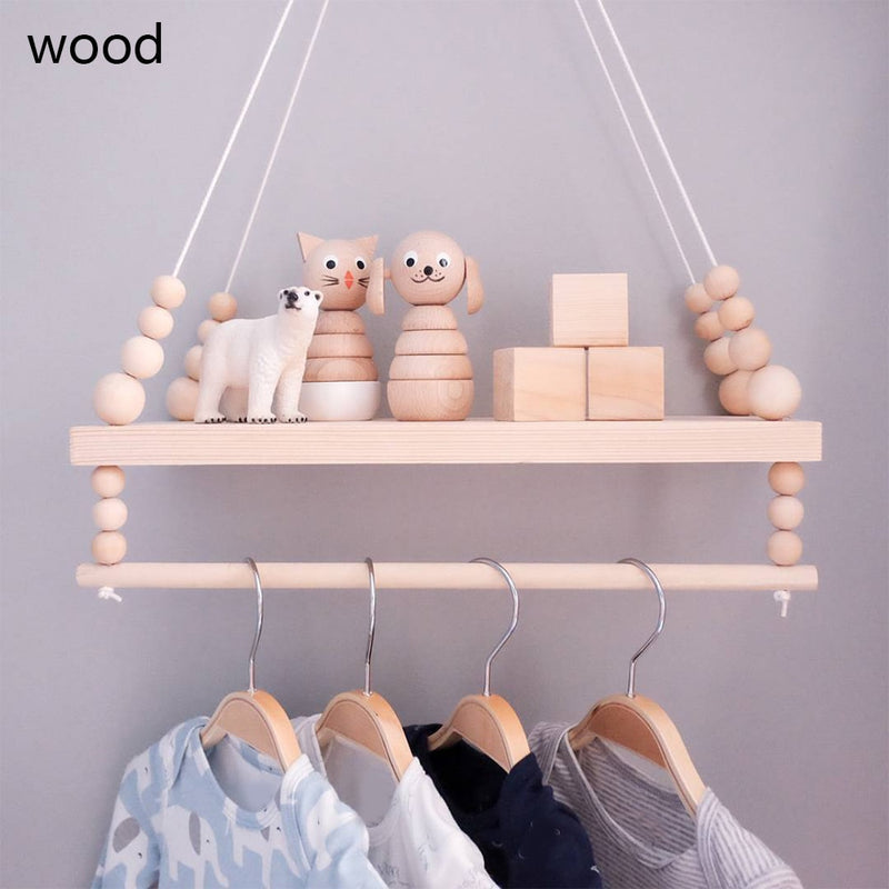 Wooden Wall Shelf With Clothes Rack wood wall shelf Wooden Wall Shelf With Clothes Rack