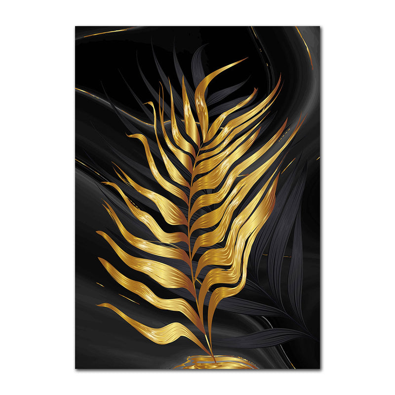 Gold Plant Leaves Wall Art Canvas 20X30 / B Art print Gold Plant Leaves Wall Art Canvas