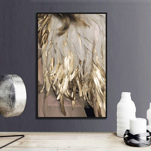 Gold Feather Wall Art Canvas - OBELKIR