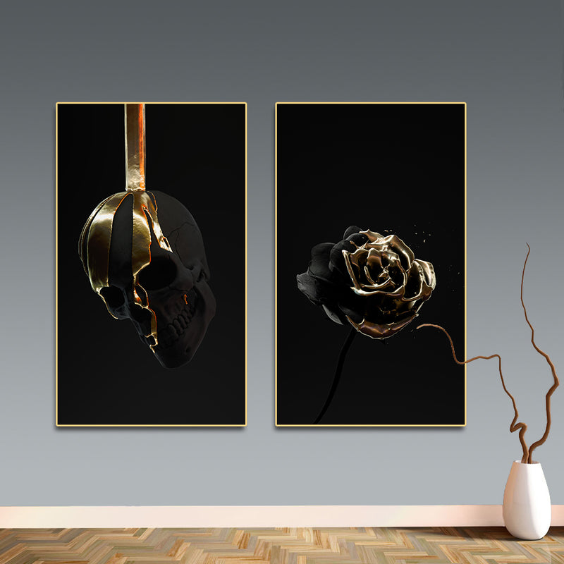 Gold Dip Skull & Rose Canvas Wall Art Art print Gold Dip Skull & Rose Canvas Wall Art