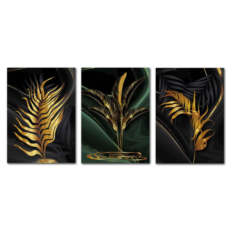 Gold Plant Leaves Wall Art Canvas 20X30 / A+B+C Art print Gold Plant Leaves Wall Art Canvas