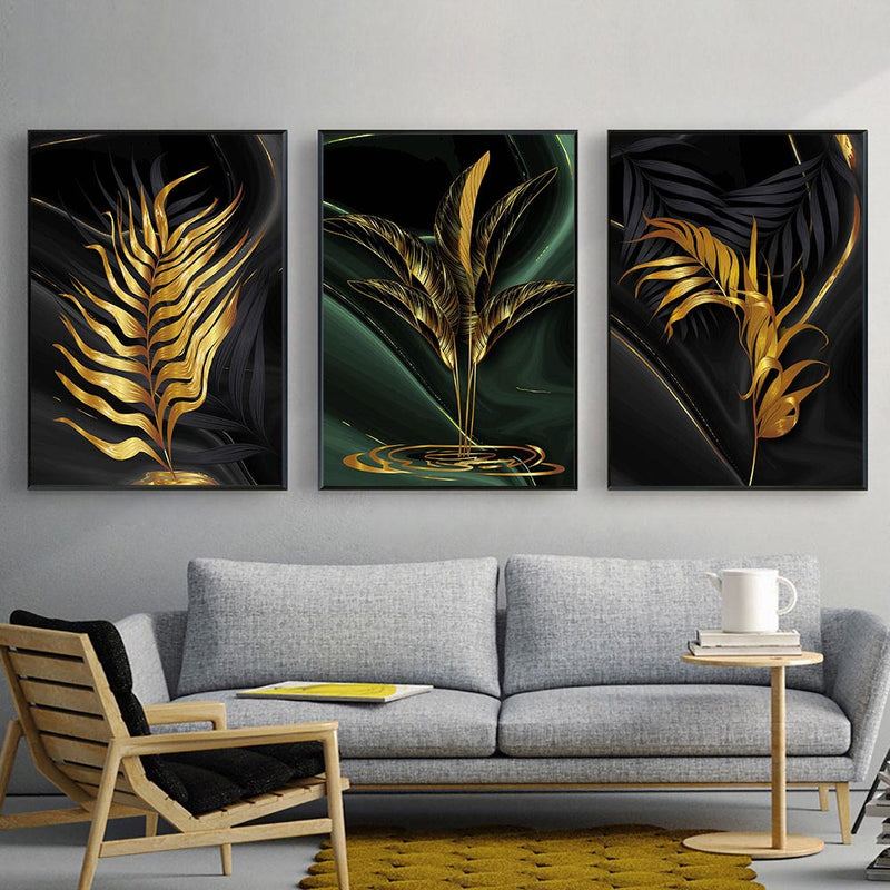 Gold Plant Leaves Wall Art Canvas Art print Gold Plant Leaves Wall Art Canvas