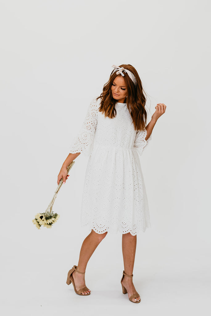 white eyelet dress for wedding reception