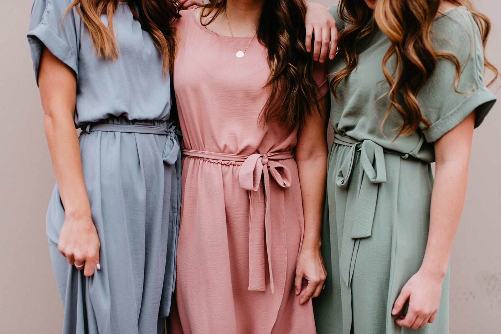 The Selena Wrap Maxi Dress in Slate, Mauve and Sage