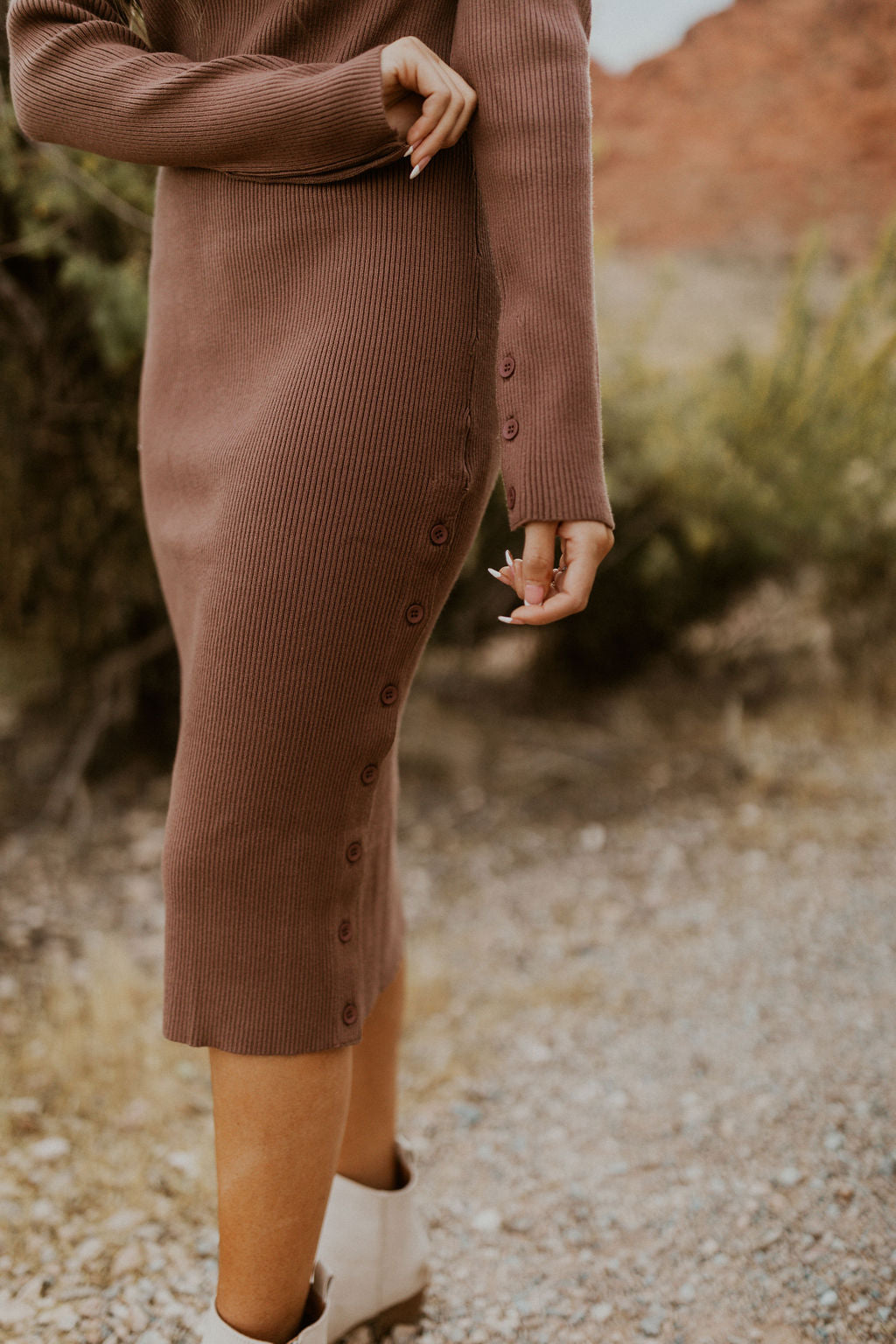 THE MELODY TURTLENECK MIDI DRESS IN MOCHA
