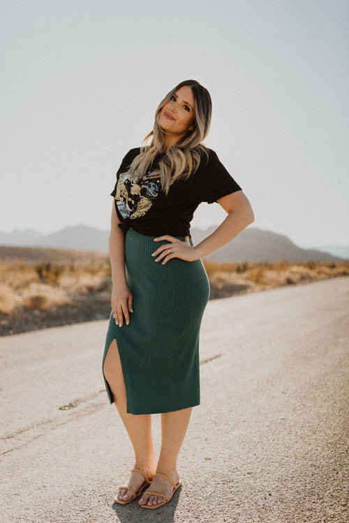 THE SUMMER VIBES HIGH WAISTED MIDI SKIRT IN GULF COAST