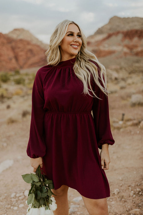 THE HARMONY HIGH NECK LONG SLEEVE MIDI DRESS IN WINE
