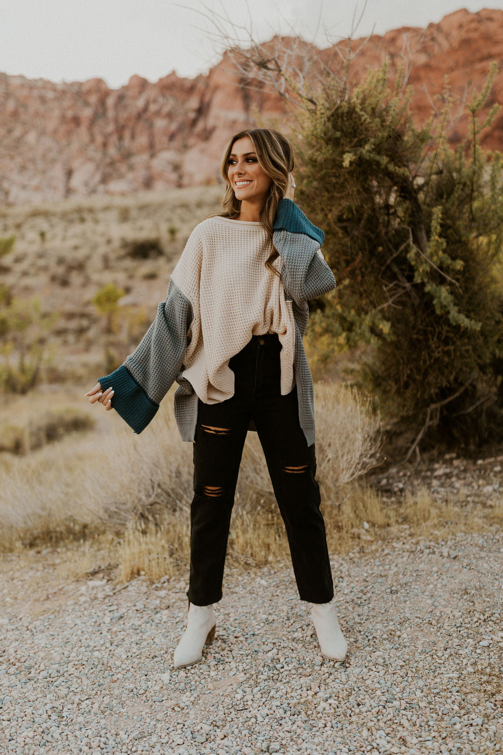 THE CAPRI COLOR BLOCK SWEATER IN BEIGE AND GREY