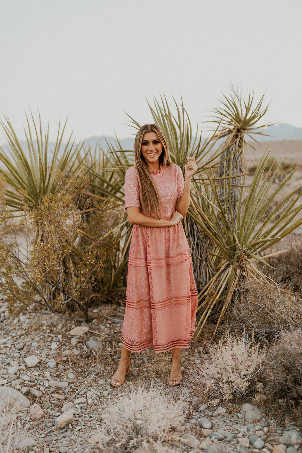 THE RAELYNN MIDI DRESS IN ROSE