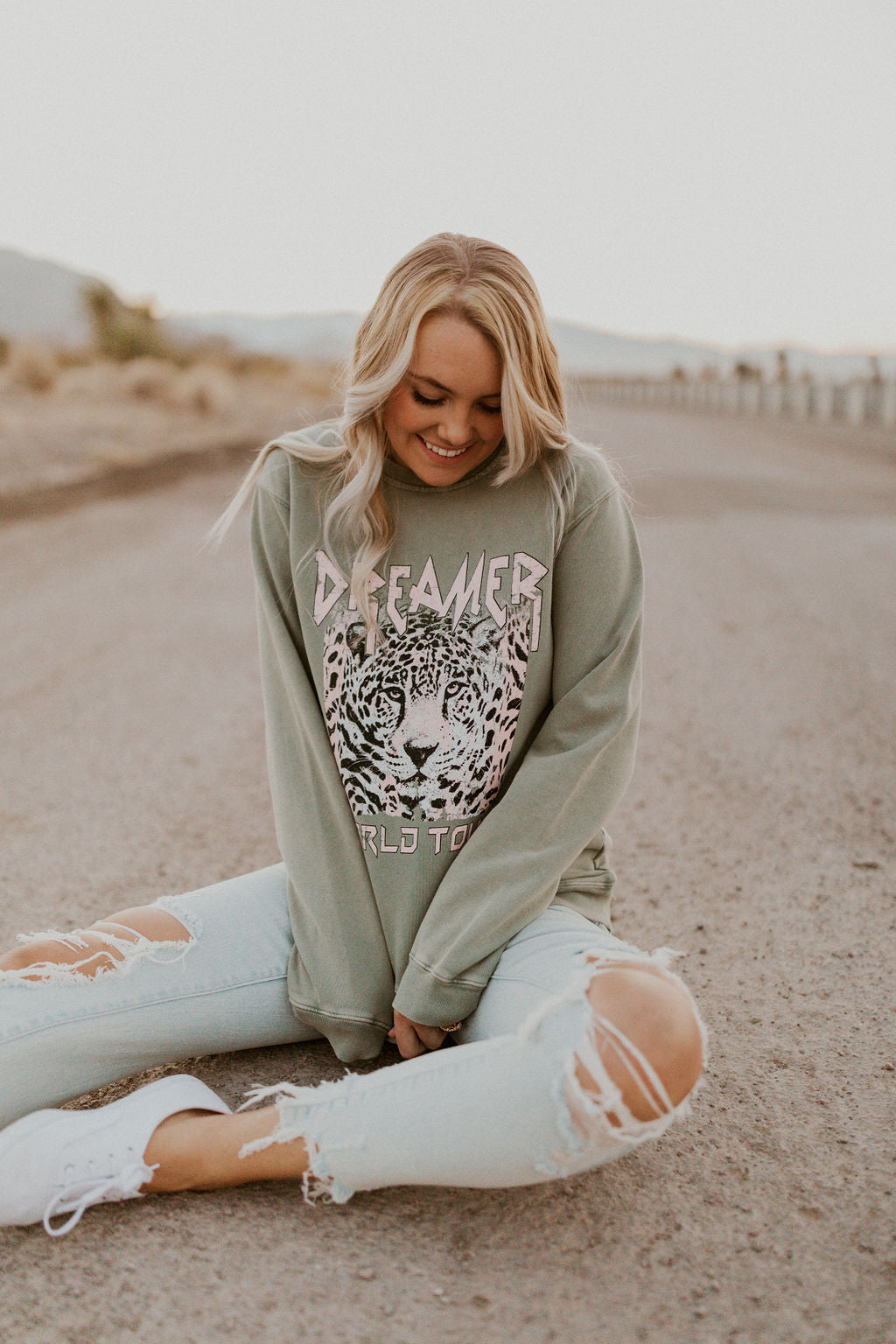 THE DREAMER CHEETAH GRAPHIC PULLOVER IN SAGE