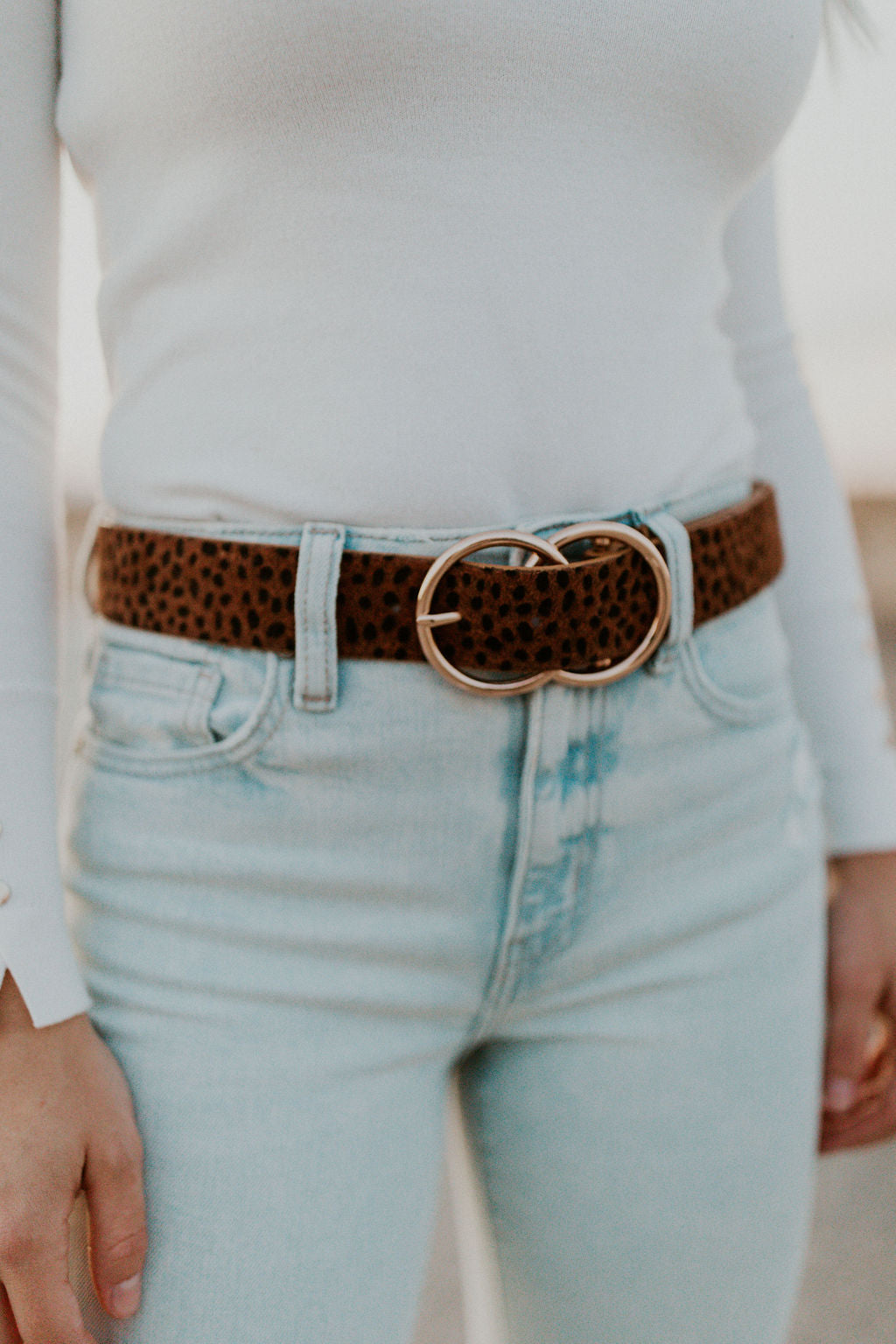 THE DOUBLE RING BELT IN CHEETAH