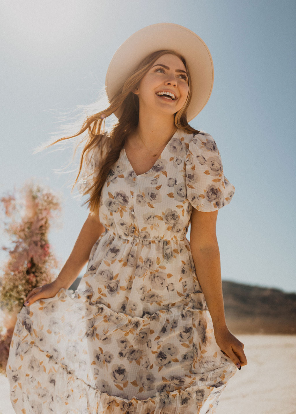 THE VIENNA FLORAL MIDI DRESS IN IVORY