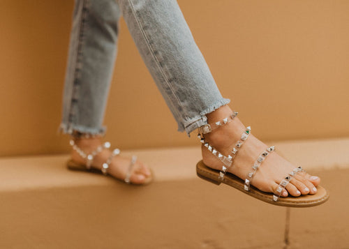 THE SHILOH STUDDED SANDAL IN SILVER