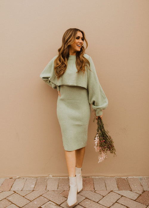 THE SHOUT OUT TO YOU KNIT DRESS SET IN SAGE