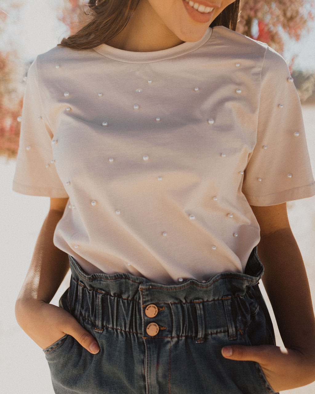 THE PRETTY IN PEARLS EMBELLISHED TOP IN BEIGE