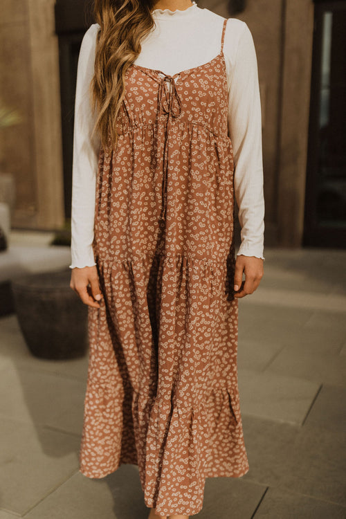 THE SUMMER DAYDREAM FLORAL MIDI DRESS IN DUSTY MAUVE